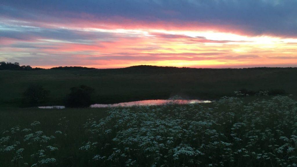 Solnedgang over spidsen af Røsnæs