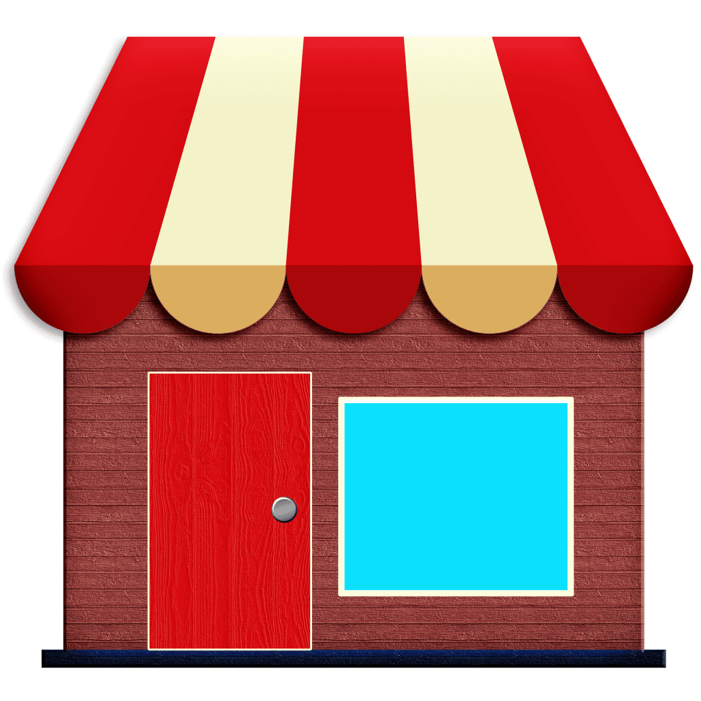 Butiksfacade med markise